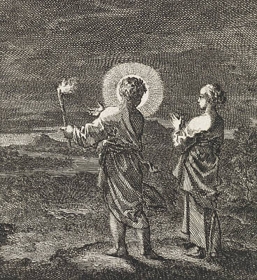 Christ Illuminates The Darkness With A Torch Art Print by Jan Luyken