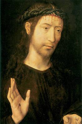 Christ In Blessing Art Print by Hugo Van Der Goes