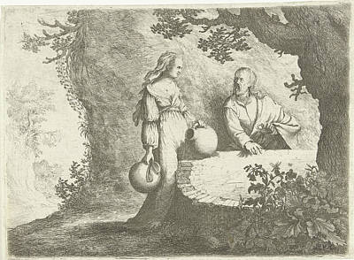 Pitcher Drawing - Christ In Conversation With The Samaritan Woman by Willem Basse