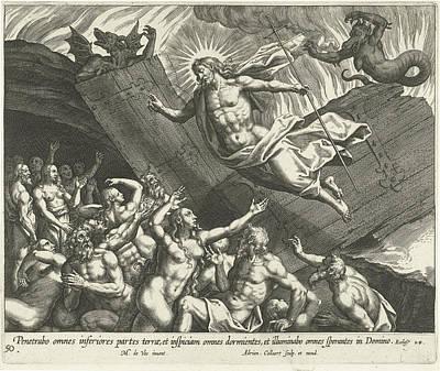 Christ In Limbo, Adriaen Collaert Print by Adriaen Collaert