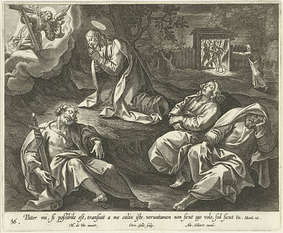 Matthew 26 Drawing - Christ In The Garden Of Olives, Cornelis Galle by Cornelis Galle (i) And Adriaen Collaert