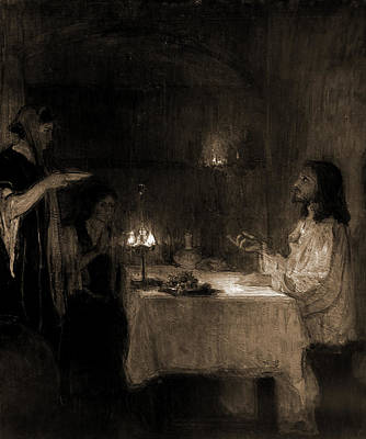 Martha Drawing - Christ In The Home Of Mary And Martha, Tanner, Henry by Litz Collection