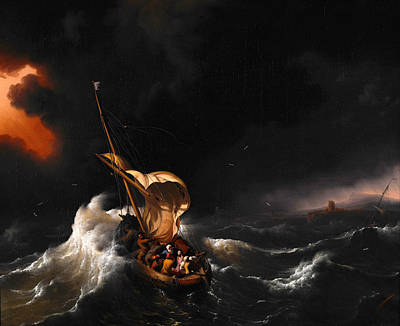 Christ In The Storm On The Sea Of Galilee Art Print by Ludolf Bakhuizen