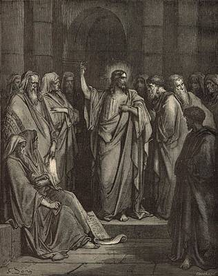Scriptural Drawing - Christ In The Synagogue by Antique Engravings