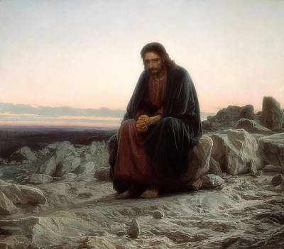Christian Artwork Painting - Christ In The Wilderness by Mountain Dreams
