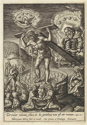 Grapes Drawing - Christ In The Wine Press, Hieronymus Wierix by Hieronymus Wierix