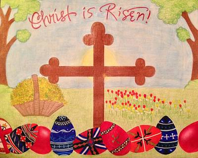 Orthodox Drawing - Christ Is Risen Pascha / Easter by Eleni Pessemier