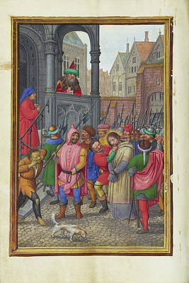 Pilate Painting - Christ Led From Herod To Pilate Simon Bening, Flemish by Litz Collection