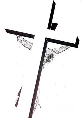 Art Print featuring the drawing Christ On Cross by Justin Moore