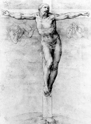 Bible Verse Drawing - Christ On The Cross by Michelangelo Buonarroti