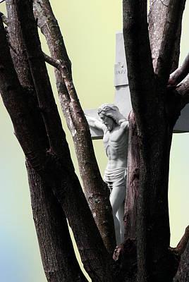Christ On The Cross With Bare Tree Trunk Norfolk Virginia Original by John Hanou