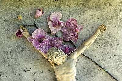 Christ On The Cross With Flowers Nogales Mexico Original by John Hanou