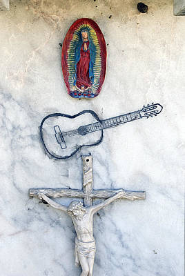 Christ On The Cross With Guitar And Our Lady Of Guadalupe Tijuana Mexico Original by John Hanou