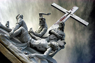 Christ On The Cross With Mourners Saint Joseph Cemetery Evansville Indiana 2006 Original by John Hanou