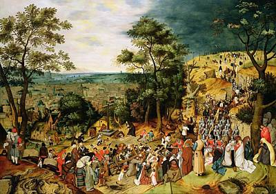 Mary Magdalene Photograph - Christ On The Road To Calvary, 1607 Panel by Pieter the Younger Brueghel