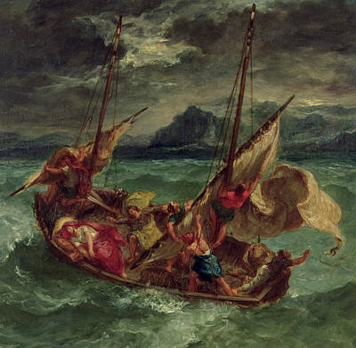 Ship Painting - Christ On The Sea Of Galilee by Delacroix