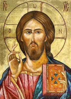 Orthodox Icon Mixed Media - Christ Pantocrator by Dragica  Micki Fortuna