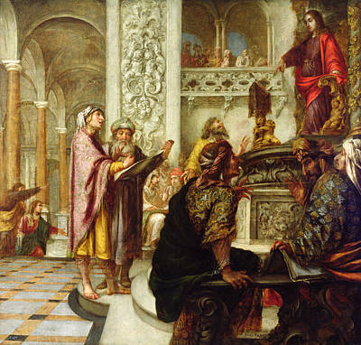 Rabbi Painting - Christ Preaching In The Temple by Juan de Valdes Leal