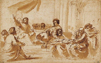 Christ Preaching In The Temple Guercino Giovanni Francesco Art Print by Litz Collection