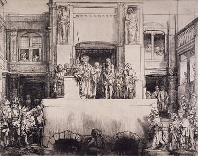 Ecce Homo Drawing - Christ Presented To The People, 1655 by Rembrandt Harmensz. van Rijn