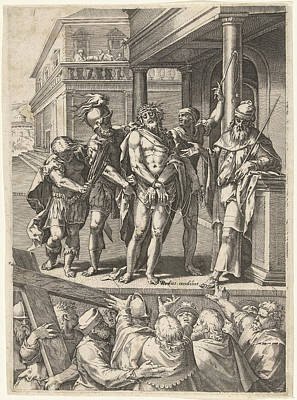 Crying Drawing - Christ Presented To The People Ecce Homo by Cornelis Cort And Anonymous And Etienne Dup?rac