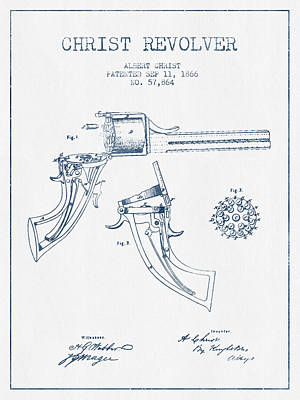 Small Digital Art - Christ Revolver Patent Drawing From 1866 -  Blue Ink by Aged Pixel