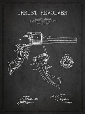 Christ Revolver Patent Drawing From 1866 - Dark Art Print by Aged Pixel