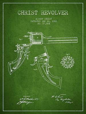 Christ Revolver Patent Drawing From 1866 - Green Art Print by Aged Pixel