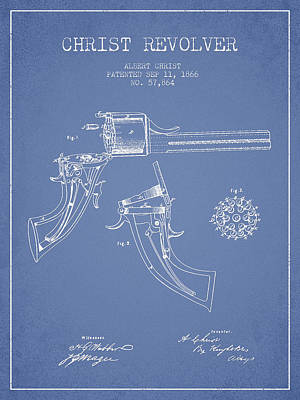 Christ Revolver Patent Drawing From 1866 - Light Blue Art Print by Aged Pixel