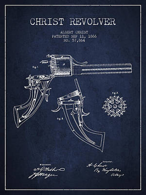 Christ Revolver Patent Drawing From 1866 - Navy Blue Art Print by Aged Pixel