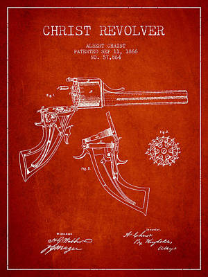 Christ Revolver Patent Drawing From 1866 - Red Art Print by Aged Pixel