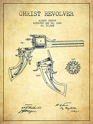 Smallmouth Bass Digital Art - Christ Revolver Patent Drawing From 1866 - Vintage by Aged Pixel