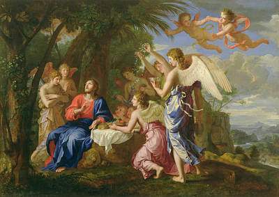 Art Print featuring the painting Christ Served By The Angels - Jacques Stella - 1656 by Jacques Stella