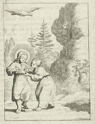 Holy Ghost Drawing - Christ Shows The Personified Soul Wounds by Jan Luyken And Pieter Arentsz Ii