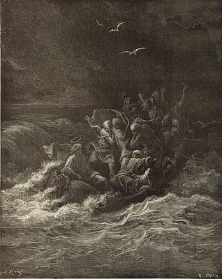 Christ Stilling The Tempest Art Print by Antique Engravings