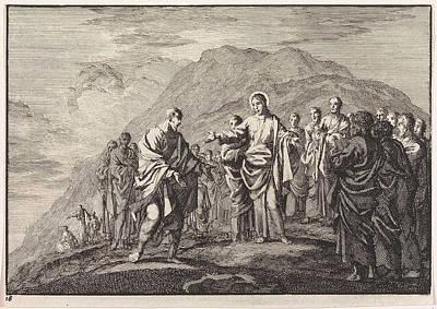 7-11 Drawing - Christ Talking To The Apostles, Jan Luyken by Jan Luyken And Pieter Mortier