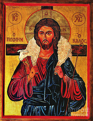 Black Gospel Painting - Christ The Good Shepherd Icon by Ryszard Sleczka