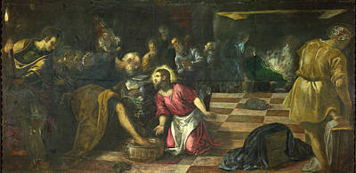 Disciples Painting - Christ Washing The Disciples Feet by Tintoretto