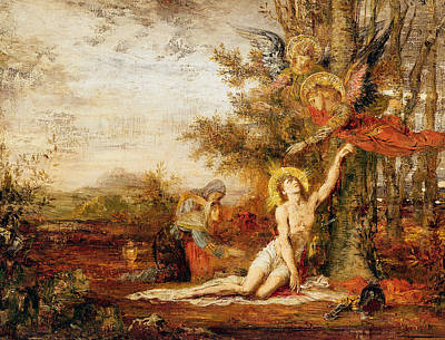 Moreau Painting - Christ With Angels by Gustave Moreau
