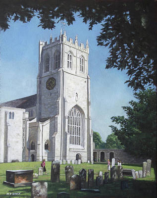 Stone Buildings Painting - Christchurch Priory West View by Martin Davey