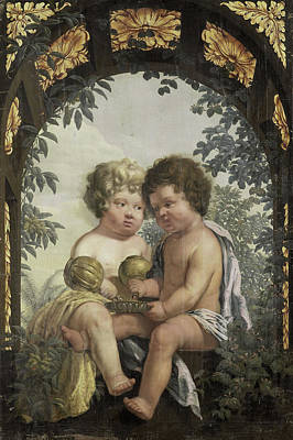 Christian Allegory With Two Children Both Pouring Art Print