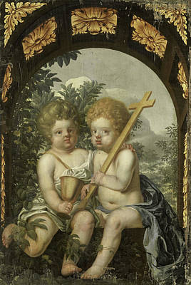 Christian Allegory With Two Children With Cross And Chalice Art Print