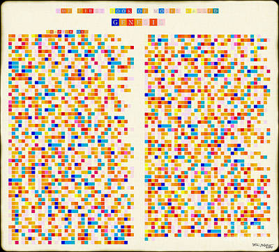 Holy Alphabet Painting - Christian Art- Color Alphabet Mosaic- Genesis Chapter One by Mark Lawrence