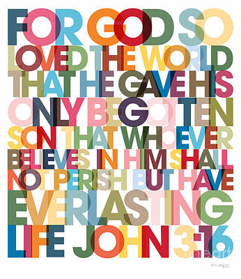 Christian Art- John 3 16 Versevisions Poster Art Print by Mark Lawrence