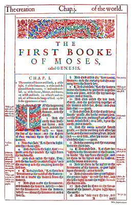 Christian Art- Modern Art Genesis Cover Page From King James Bible Of 1611  Art Print