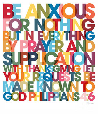 Message Art Painting - Christian Art- Philippians 4 6 Versevisions Wall Art Poster by Mark Lawrence