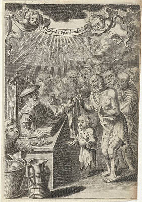 Christian Assistance To The Poor, Print Maker Pieter Nolpe Art Print by Pieter Nolpe