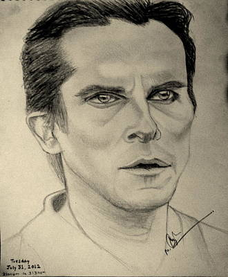 The Dark Knight Drawing - Christian Bale From The Dark Knight Rises by Azhar Khan