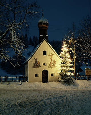 Christian Chapel On Winter Night Art Print