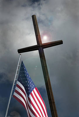 Art Print featuring the photograph Christian Cross And Us Flag by Bob Pardue